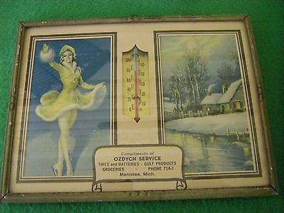 Vintage 1944 Advertising Thermometer/Calendar Ozdych Service Manistee Michigan