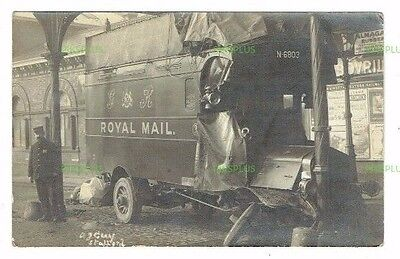 Old Motor Postcard Royal Mail Van Accident Stafford Railway Station  Real Photo