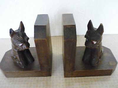 Pair Of Antique Wooden Bookends - Carved Scottie Dogs With Glass Eyes