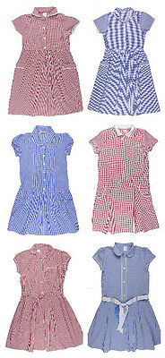 Older Girls Gingham School Dress Ex Store Blue or Red 12-13y and 13-14y