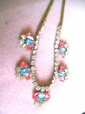 Vintage Faceted Glass Multi Colour Stoned Necklace