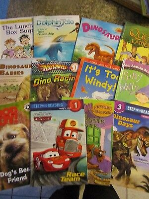 Lot of 12 children's learn to read books dinosaurs dogs - LOTFOL #1