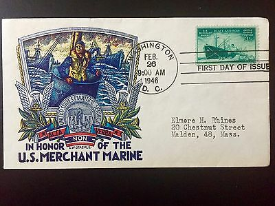 US Merchant Marine FDC Staehle cachet Washington DC cancel 1946