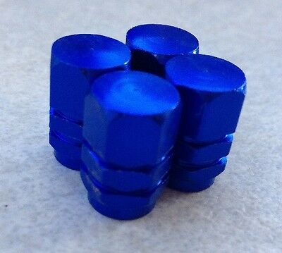4pcs Blue Hexagon Wheel Tyre Valve Stems Caps Air Dust Covers Free UK Delivery