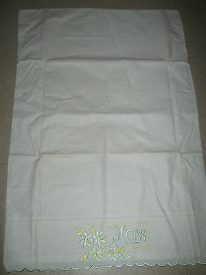 """Vintage White Cotton Embroidered Pillowcase 19"""" X 28.5"""" HERS"""