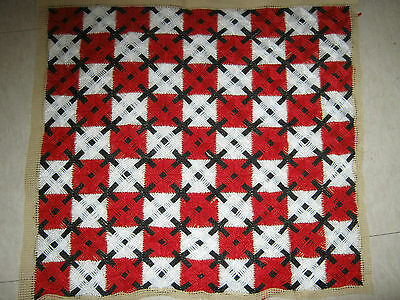 Finished Needlepoint Tapestry Red White & Black Diamonds Set of 2