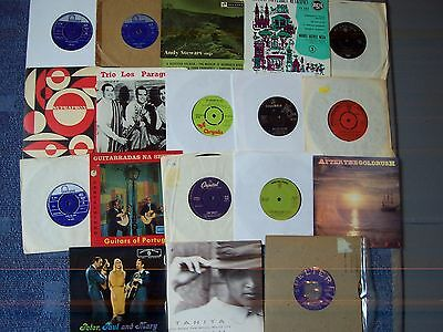 Collection Of 18 Vintage Folk Singles From All Over The World, Rarities + Odds
