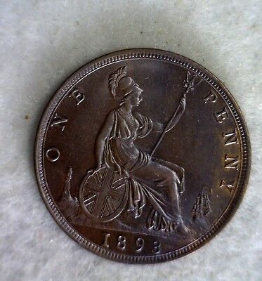 GREAT BRITAIN PENNY 1893 UNCIRC  BRITISH COIN (stock# 0068)