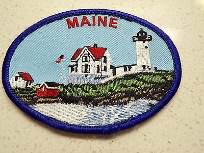 VINTAGE MAINE  WITH lighthouse  EMBROIDERED PATCH SOUVENIR 123