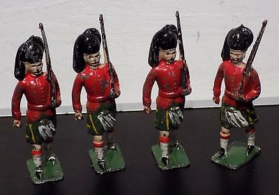 Vintage Painted Lead Marching Highlander Soldiers x 4. 80mm, Crescent Toys