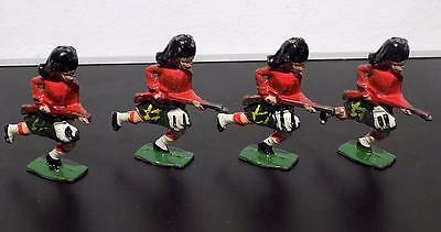 Vintage Painted Lead Charging Black Watch Riflemen x 4,  Johillco, England.