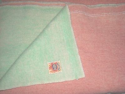 """Vintage AYERS """"Pure Wool"""" Blanket, Green & Pink, Made in Canada; 50"""" x 76"""""""