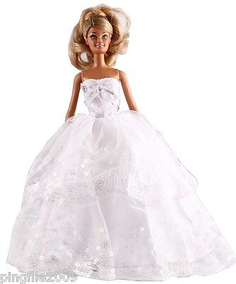 New Handmade Two Tier White Party Dress Clothes Outfits For Barbie Doll #1087