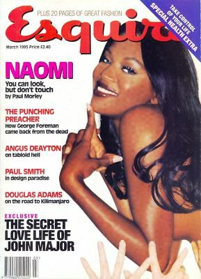 NAOMI CAMPBELL on Cover & Within UK ESQUIRE Magazine, March 1995. Free Postage