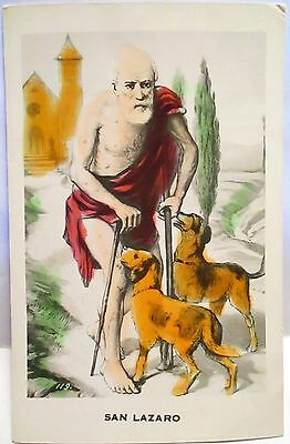 1940s POSTCARD SAN LAZARO ON CRUTCHES WITH 2 DOGS, HAND COLORED