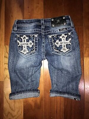 Girls~Miss Me Cross Crystals Bermuda Shorts~12~100%Authentic