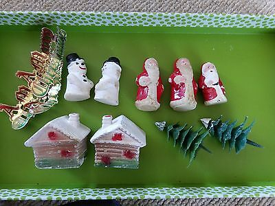 Vintage Christmas Cake Decorations Toppers Ornaments Santa Snowman Tree Cottage