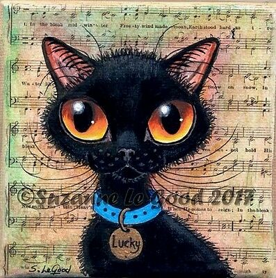 Black Cat Painting on canvas original, with Display Easel, by Suzanne Le Good