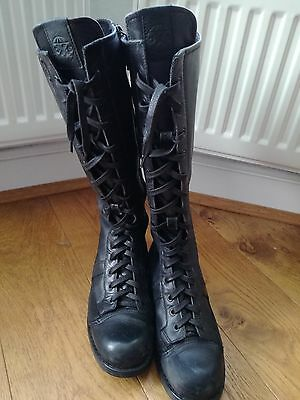 OXS Black Leather Knee High Boots size 6