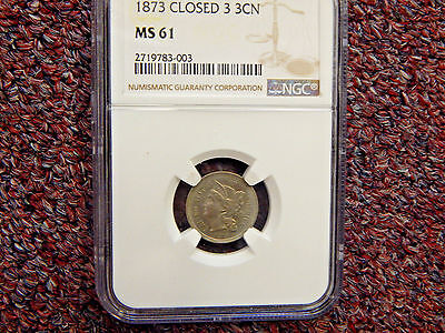 1873 Three Cent Nickel  Closed 3 NGC MS61  Type Coin