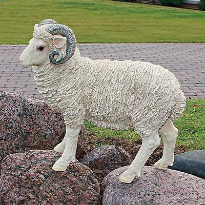 "Design Toscano Exclusive 17½"" Realistic Hand Painted Horned Dorset Sheep Statue"