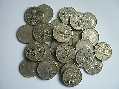 GEORGE VI - 25 x COLLECTABLE GRADE ENGLISH & SCOTTISH ONE SHILLING COINS 1947-51