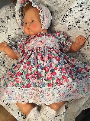 """Doll Clothes for 19""""/20"""" Large Thumbelina """"Pretty Floral Dress Set"""" by Maureen"""