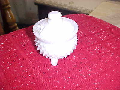 Vintage Depression Opaque Milk Glass Hobnail Mustard Pot w/ Lid/spoon  Fenton
