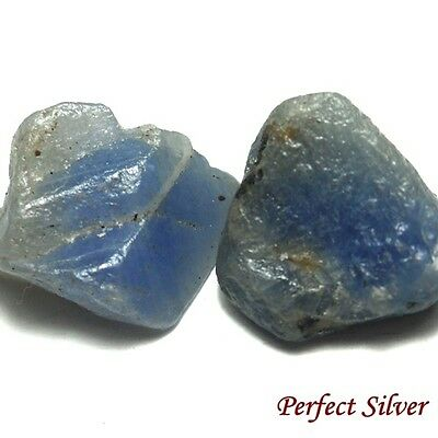 NICE! 19.25 ct. 2 Pcs. Unheated 100% Natural Rough Blue Sapphire @ Free ship