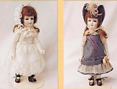 "7""antique French All Bisque Doll Dress/hat/nightgown/shoes&socks&undies Pattern"