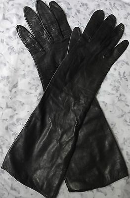 Dayne Taylor Vintage long black leather gloves  SILK LINING Made In Italy