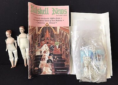 2 Bisque Doll House Dolls + Patterns For Wedding Clothes, More