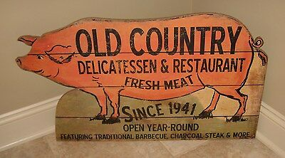 Large PIG SIGN*Primitive/French Country Kitchen/Restaurant/Barbecue/Delicatessen