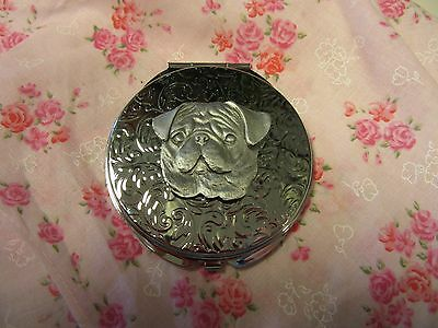 Lovely Pug Dog Pewter And Silver Double Mirror Compact-Very Limited Edition