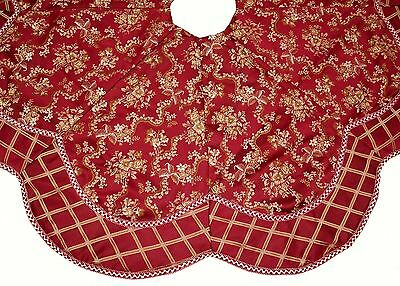 NWOT Red & Gold Floral Brocade Padded Christmas Tree Skirt w/ Braided Trim