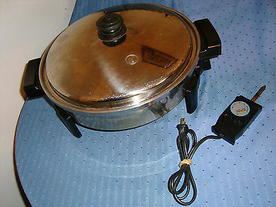 "Excellent Saladmaster 7256 Electric Skillet Oil Core Fry Pan Vapo Lid 12"" Fryer"
