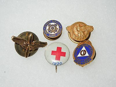 WWII US Military Lapel Pin Lot Civil Defense Cost Guard AAF Red Cross Ruptured