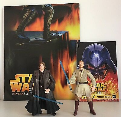 STAR WARS Revenge of the Sith Action Figures: Obi-Wan, Anakin + Poster Hasbro