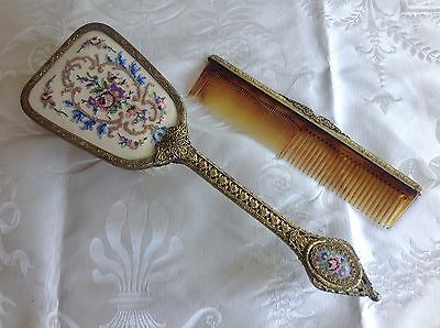 BEAUTIFUL 1950's VINTAGE Embroidered Petit-Point HAIRBRUSH AND COMB SET
