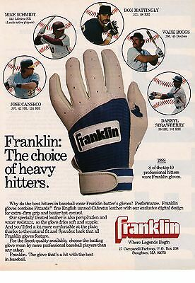 """1988 Franklin Batting Gloves """"The Choice Of Heavy Hitters"""" Print Advertisement"""