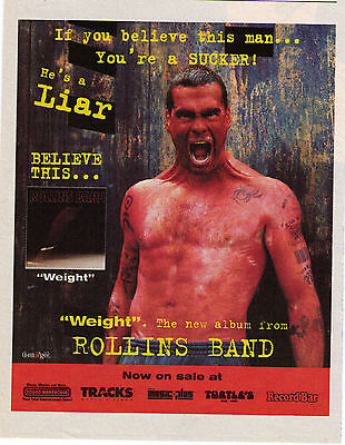 """1994 Rollins Band """"Weight/Liar"""" Record Album Trade Print Advertisement"""