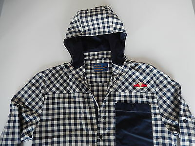 Red Bull Athlete Only long sleeve button up shirt with hoodie sz S >VERY RARE<