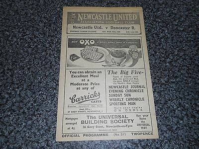 NEWCASTLE UNITED  v  DONCASTER ROVERS  1947/8  ~ MARCH 20th VINTAGE *FREE POST*
