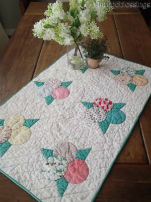 Charming California Oranges Vintage 30s Feedsack Crib or Table QUILT 31x20""