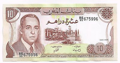 1985 MOROCCO 10 DIRHAMS NOTE - p57b