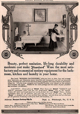 Ad Lot Of 5 Early 1900 's Ads Standard Baths Lavatories Maid Children
