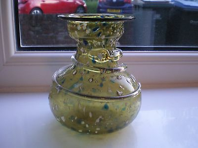 Vintage/Retro Olive Green Murano Art Glass Vase with White & Blue Speck Detail