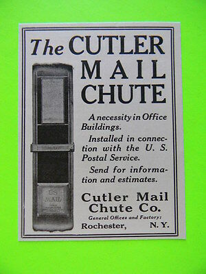 1920 The Cutler Mail Chute Company Rochester Ny ~ Office Building Supply Art Ad