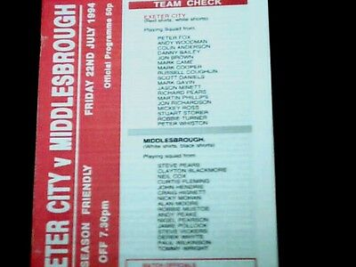 94/95 Exeter City V Middlesbrough Pre-Season Friendly 22/7/94