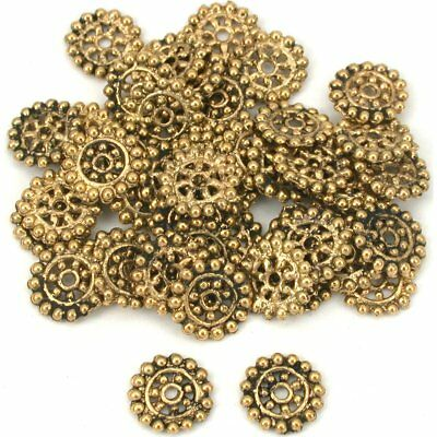 Flower Bali Spacer Beads Antq Gold Plate 10mm Approx 50